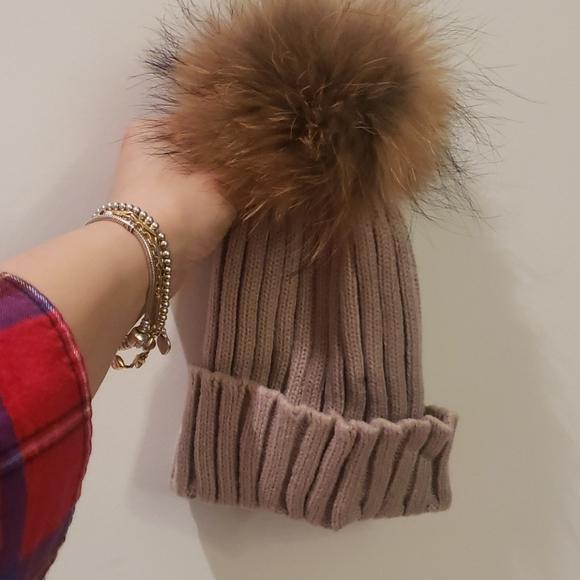 100% fur pom pom winter hat